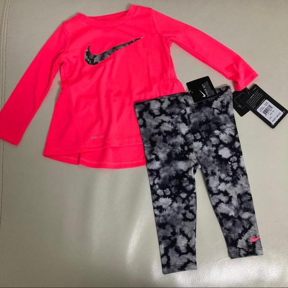 Nike Dri-fit baby pink cute leggings set 2037